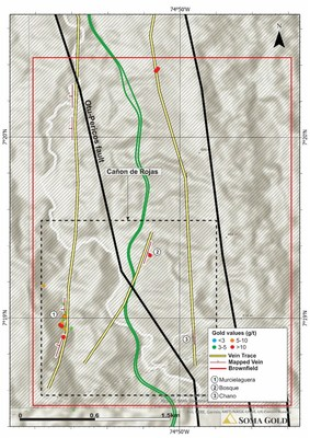 Map #6. Plan view of Cañon de Rojas target in the south sector of the Zara concessions. (CNW Group/Soma Gold Corp.)