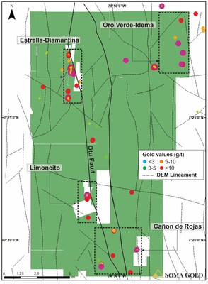Map #4. Plan view of DEM lineaments patterns and high gold grades on Zara concessions. (CNW Group/Soma Gold Corp.)
