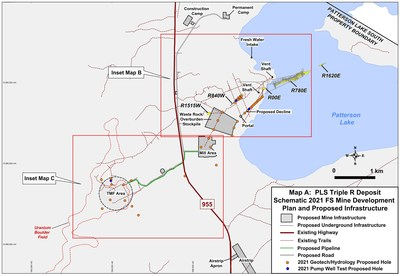 Map A: PLS Triple R Deposit Schematic 2021 FS Mine Development Plan and Proposed Infrastructure. (CNW Group/Fission Uranium Corp.)