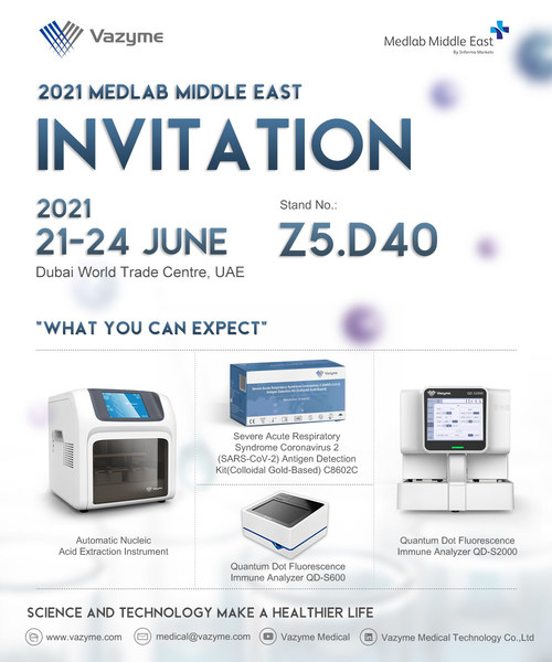 Vazyme to showcase full range of COVID-19 Testing Solutions at 2021 Medlab Middle East