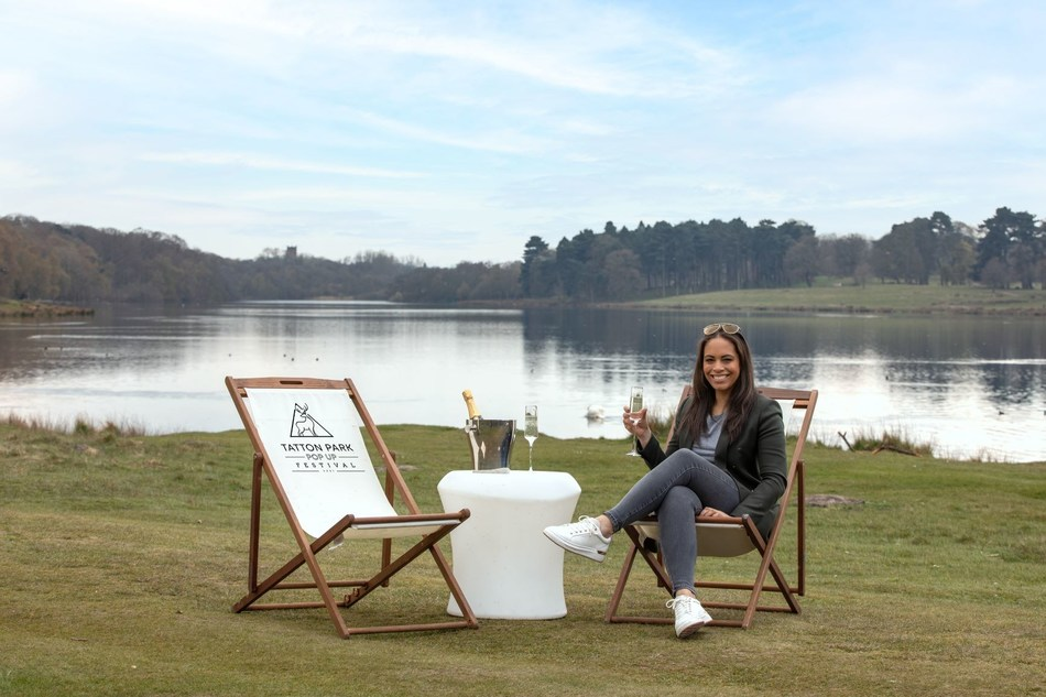 Founder of Tatton Park Pop Up Festival, Rebecca Hartley, in front of the Tatton Lake. The location of the festival.