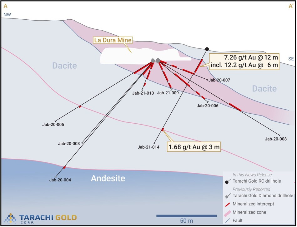 Section with JAB-21-014 (looking 100o with a view depth of 40 metres) (CNW Group/Tarachi Gold Corp.)