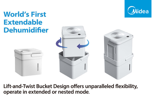 The Midea Cube is the world's first extendable dehumidifier with lift-and-twist design.