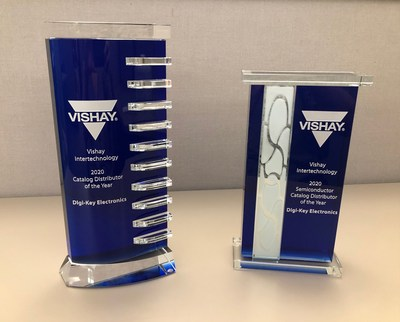 Vishay recognizes Digi-Key with the North American Catalog Distributor of the Year Award and North American Catalog Semiconductor Distributor of the Year Award 2020
