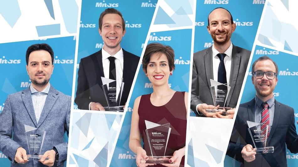Cinq entrepreneur de la relève reconnus pour leurs innovations. Les Prix de l'entrepreneuriat Mitacs mettent en lumière des entreprises en démarrage bien placées pour stimuler l'économie et améliorer la vie des Canadiennes et des Canadiens. (Groupe CNW/Mitacs Inc.)