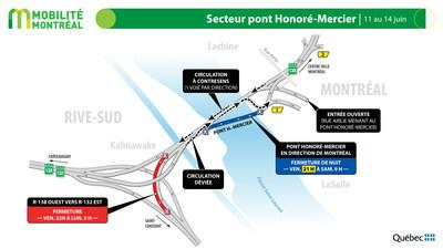 Pont Honoré-Mercier, fin de semaine du 11 juin (Groupe CNW/Ministère des Transports)