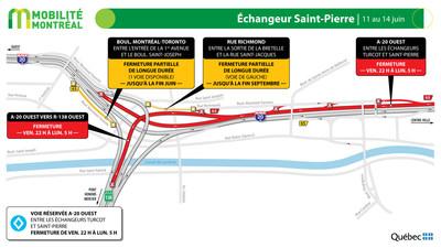 A20 ouest entre Turcot et Saint-Pierre, fin de semaine du 11 juin (Groupe CNW/Ministère des Transports)