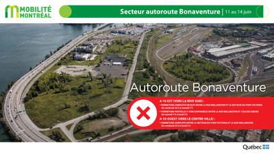 A10 Bonaventure, secteur centre-ville, fin de semaine du 11 juin (Groupe CNW/Ministère des Transports)