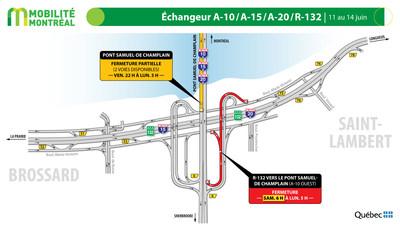 Échangeur pont Samuel-De Champlain et R132, fin de semaine du 11 juin (Groupe CNW/Ministère des Transports)