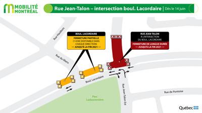 Intersection Jean-Talon-Lacordaire, à partir du 14 juin (Groupe CNW/Ministère des Transports)