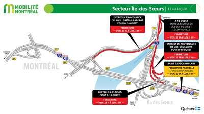 A10 ouest secteur Île des Soeurs, fin de semaine du 11 juin (Groupe CNW/Ministère des Transports)