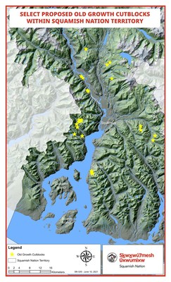 Map identifying location of select proposed old growth cutblocks within Squamish Nation territory. (CNW Group/Squamish Nation)