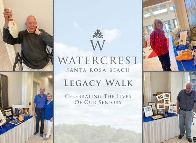Residents at Watercrest Santa Rosa Beach Assisted Living and Memory Care share their unique life experiences at a signature Legacy Walk honoring the lives of seniors.