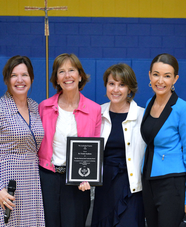 Lisa Cenca; Mary Werner, President of St. Ursula Academy; Nichole Flores, Principal of St. Ursula Academy; and Julie Carrier. Photo Credit: St. Ursula Academy