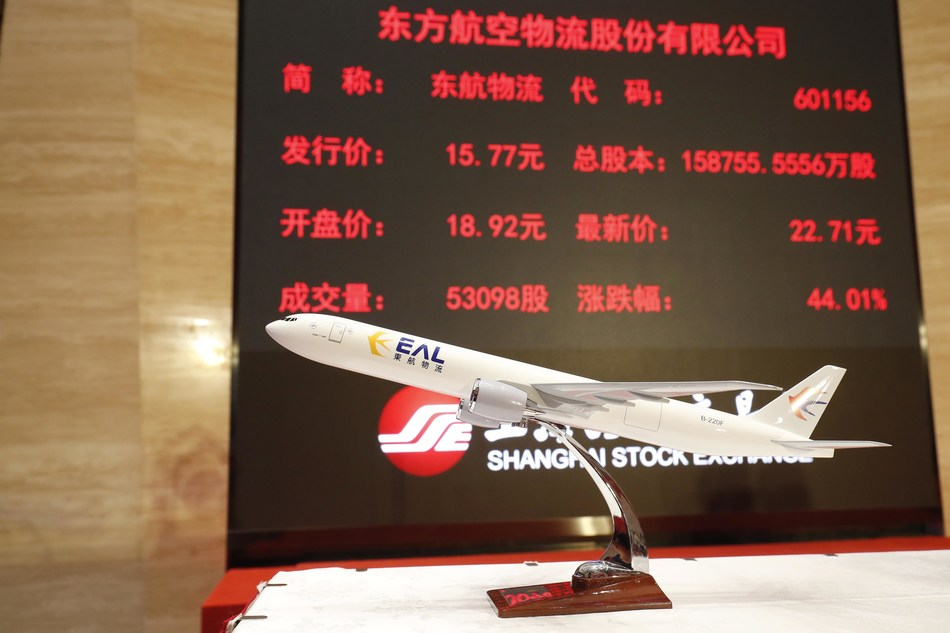 The share price of China Eastern Air Logistics Co., Ltd. (601156. SH) reached the upper limit of 22.71 yuan ($3.55) per share at the Shanghai Stock Exchange on Wednesday.