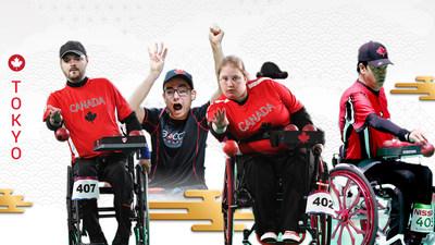 Le Canada sera représenté par quatre athlètes dans le sport de la boccia aux Jeux paralympiques de Tokyo 2020. De G à D : Iulian Ciobanu, Danik Allard, Alison Levine et Marco Dispaltro. (Groupe CNW/Canadian Paralympic Committee (Sponsorships))