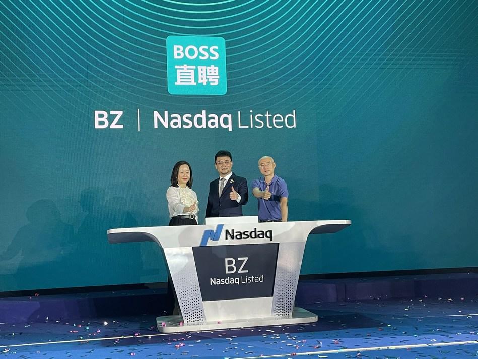Ji Wei, Founding Managing Partner of Meridian Capital, Gaonan Zhang, Managing Partner of Meridian Capital with the Founder of Zhipin.com (PRNewsfoto/Meridian Capital)