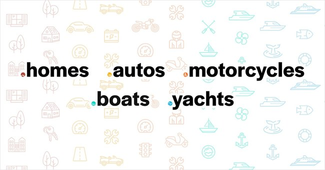 The .Homes, .Autos, .Motorcycles, .Boats, and .Yachts logos.