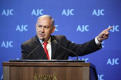 Benjamin Netanyahu Addresses 2018 AJC Global Forum in Jerusalem, Israel.