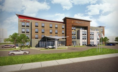 Rendering of Dual-Brand prototype that enables hotel owners to reach business transient and extended stay guests