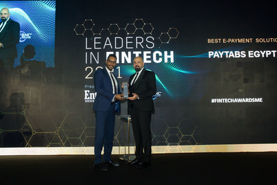 """PayTabs Egypt: Winner """"Best E-Payment Solution Award"""" at the """"Leaders in Fintech Awards 2021"""" presented by Entrepreneur Middle East. (PRNewsfoto/PayTabs)"""