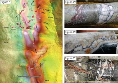 Figure 1: Shot Rock drill-hole location map with traces of third phase drill-holes shown in black line. Figure 2a-c: Selection of visually prospective ginguro and pyrite banded quartz-adularia veins from Shot Rock; 2a) 21SR-18, 0.01 g/t Au; 2b) 21SR-21, 0.25 g/t Au; 2c) 21SR-22, 0.57 g/t Au. (CNW Group/Northern Shield Resources Inc.)