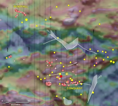 Figure 3: Map showing position of preliminary IP targets at Root & Cellar represented by white dashed lines and polygons. Background image is of Total Magnetic Intensity draped over shaded Digital Elevation Model. (yellow circles represent gold anomalous soil samples and red squares, gold-bearing rock sample. (CNW Group/Northern Shield Resources Inc.)