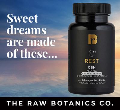 The Raw Botanics Co. REST Extra Strength CBN Softgels with Ashwagandha, Reishi, and proprietary terpene formula.