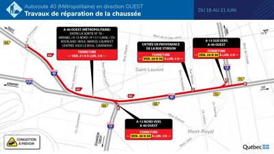 A-40 (Métropolitaine) - Fermeture complète en direction ouest - Du 18 au 21 juin 2021 (Groupe CNW/Ministère des Transports)