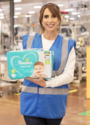TV presenter Alex Jones visits Pampers factory Manchester, which donated over 500,000 nappies to UK baby banks