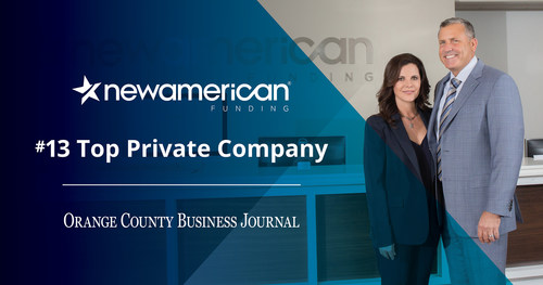 New American Funding Ranks #13 as a Top Private Company (PRNewsfoto/New American Funding)