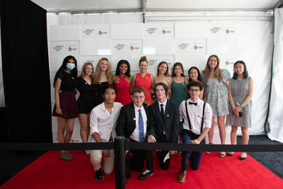 Finalists from the RFK Speak Truth to Power video competition pose on the Tribeca Film Festival red carpet with actor and singer Jazmin Grace Grimaldi, one of the contest judges. (George Etheredge for RFK Human Rights)