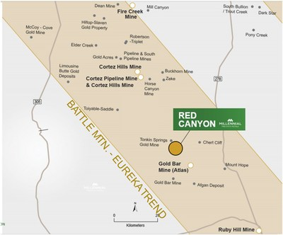 Figure 3. Red Canyon Regional Map (CNW Group/Millennial Precious Metals Corp.)