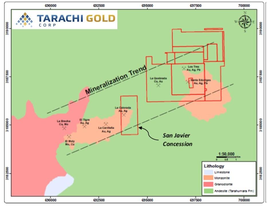 San Javier Mineralized Trend (CNW Group/Tarachi Gold Corp.)