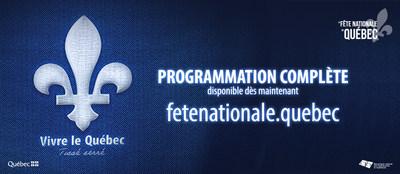 Toute la programmation de la 187e Fête nationale du Québec est disponible au fetenationale.quebec - Les 23 et 24 juin, des activités seront déployées sur près de 460 sites de fête aux quatre coins du Québec. Sous le thème « Vivre le Québec, tissé serré », les célébrations se dérouleront dans le respect des mesures sanitaires. (Groupe CNW/MOUVEMENT NATIONAL DES QUEBECOISES ET QUEBECOIS)
