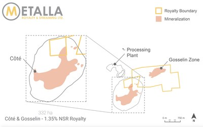 Cote Gold Project Royalty Map (CNW Group/Metalla Royalty and Streaming Ltd.)