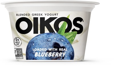 Oikos Blended is available in six delicious, crave-worthy flavors: Strawberry, Blueberry, Peach, Cherry, Vanilla Bean and Anything But Plain.