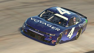 No. 4 car customized with a full Voyager-branded car wrap driven by NASCAR driver Landon Cassill during the 2021 NASCAR Xfinity Series (CNW Group/Voyager Digital (Canada) Ltd.)