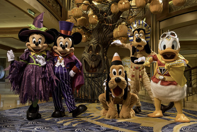 Disney Cruise Line treats guests sailing in the fall to a wickedly good time as the Disney ships transform into a ghoulish wonderland during Halloween on the High Seas cruises. For this extra-spooky celebration, each ship boasts its own signature Pumpkin Tree. (Kent Phillips, photographer) (PRNewsfoto/Disney Cruise Line)