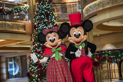 The Disney Cruise Line fleet is decked from bow-to-stern with holiday cheer and entertainment during Very Merrytime Cruises. Holiday magic is unwrapped for the whole family with festive holiday decor, favorite characters in their finest holiday attire and a special visit from none other than Santa Claus. (Matt Stroshane, photographer) (PRNewsfoto/Disney Cruise Line)