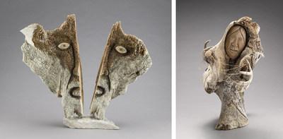 Manasie Akpaliapik, La Peur de perdre sa culture, vers 2000. Os de baleine, bois de caribou, pierre blanche et pyrophyllite noire, 68 x 78 x 20 cm. (DPD.2016.07) © Manasie Akpaliapik // Une conteuse, 2003. Os de baleine, tendons, bois de caribou, fanon de baleine, pierre blanche et pyrophyllite noire, 65 x 37 x 61,2 cm. (DPD.2016.19) © Manasie Akpaliapik. Musée national des beaux arts du Québec, dépôt en promesse de don de Raymond Brousseau Photo : MNBAQ, Idra Labrie (Groupe CNW/Musée national des beaux-arts du Québec)