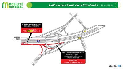 A40 secteur boulevard de la Côte-Vertu, fin de semaine du 18 juin (Groupe CNW/Ministère des Transports)