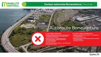 Autoroute Bonaventure, secteur centre-ville, fin de semaine du 18 juin (Groupe CNW/Ministère des Transports)