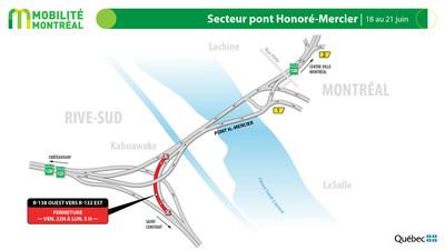 Échangeur pont Honoré-Mercier et R132 à Kahnawake, fin de semaine du 18 juin (Groupe CNW/Ministère des Transports)