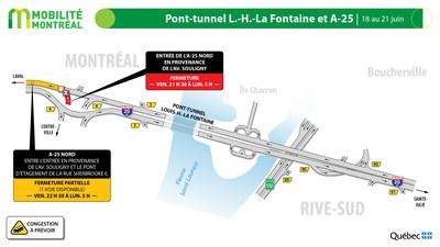 A25 nord à la hauteur de la rue Sherbrooke, fin de semaine du 18 juin (Groupe CNW/Ministère des Transports)
