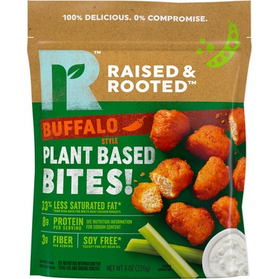 Raised & Rooted™ Plant Based Bites! are made from plant protein and have 33% less fat than USDA white meat chicken nuggets. The new offerings come in two delicious flavors including Buffalo and Sweet Barbecue.