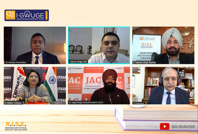 Eminent education leaders of Punjab along with International Academicians from Germany, UK and Australia during the QS I-Gauge RISE Conference-2021 on Higher Education