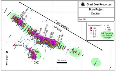 Figure 3: Map of current drill results and current and upcoming drill areas at the Dixie project. (CNW Group/Great Bear Resources Ltd.)