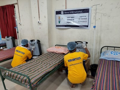 Sewa Volunteers are Seen Setting up Oxygen Concentrators in a COVID-19 Care Center in India