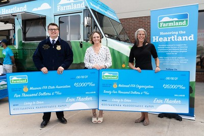 As part of the Honoring the Heartland Tour, the National FFA Organization and Missouri FFA Association receive donations from Farmland to support the future of agriculture and create the next generation of leaders.